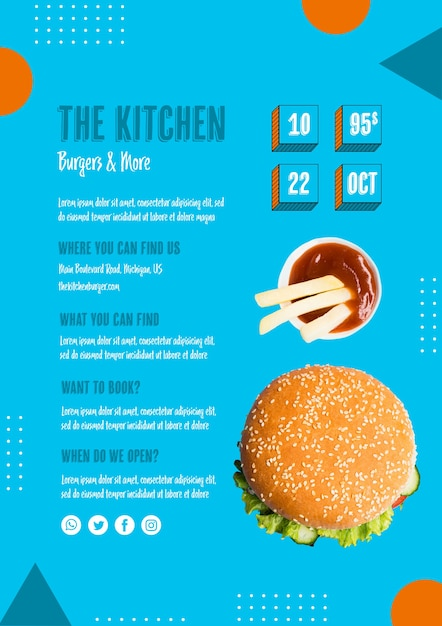 Tasty meat burger with sauce on the side Free Psd