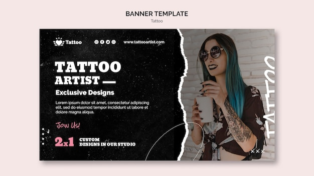 Шаблон баннера татуировщика Premium Psd