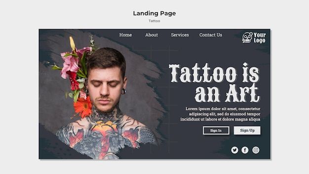 Modello di pagina di destinazione del tatuatore Psd Gratuite