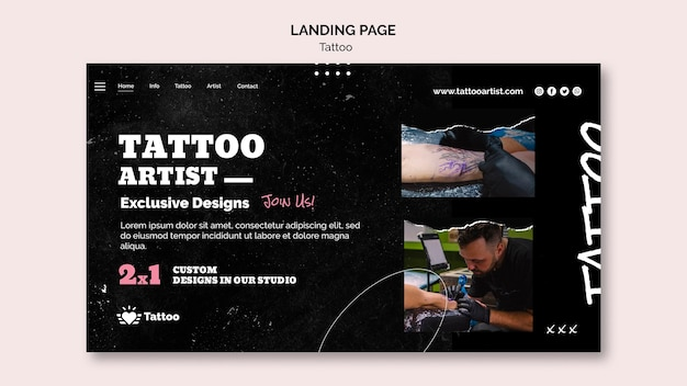 Шаблон целевой страницы татуировщика Бесплатные Psd