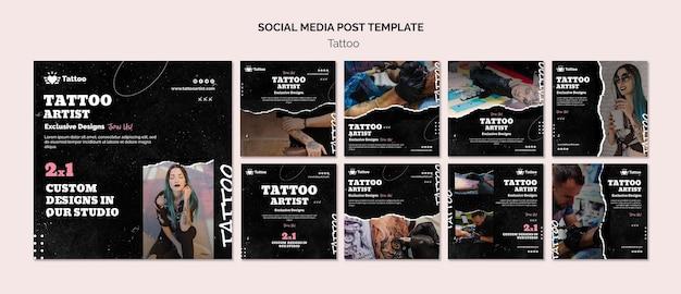 Шаблон сообщения в социальных сетях татуировщика Premium Psd