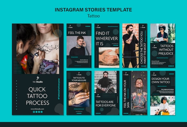 Tattoo instagram stories template Free Psd