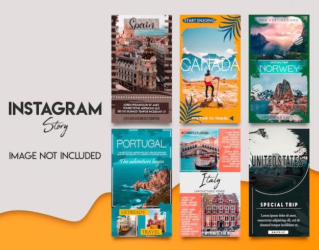 Tavel instagram stories template set Premium Psd