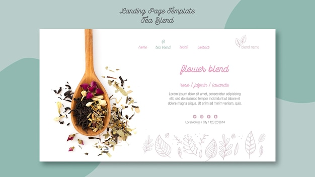 Tea blend landing page style Free Psd