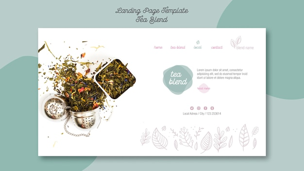Tea blend landing page template Free Psd