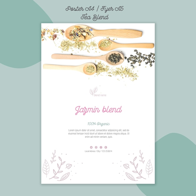 Tea blend poster style Free Psd