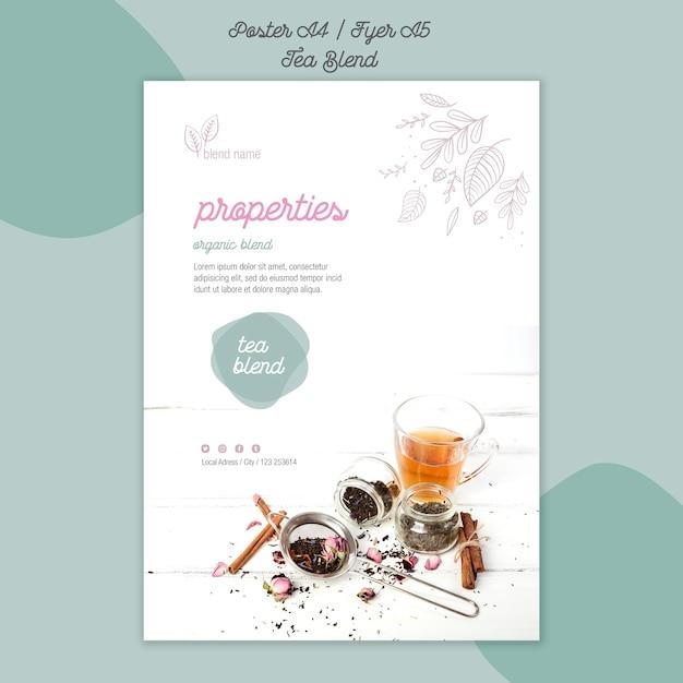 Tea blend poster template Free Psd