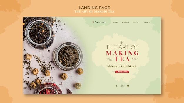 Tea house landing page template Free Psd