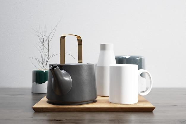 Tea set on wooden tray Free Psd