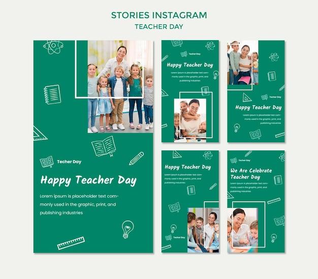 Шаблон рассказов instagram на день учителя Бесплатные Psd