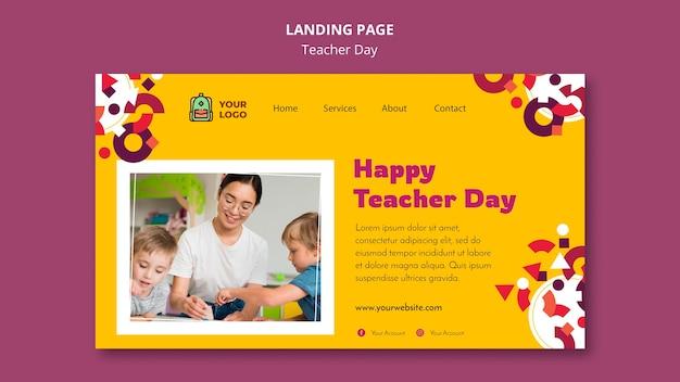 Шаблон целевой страницы дня учителя Бесплатные Psd