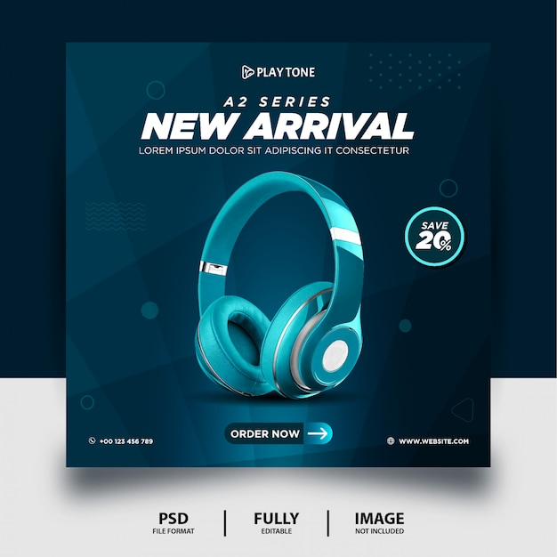 Teal color headphone brand product social media post banner Premium Psd