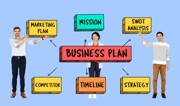 Team with a business plan Premium Psd