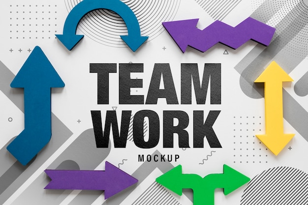 Teamwork mock-up and colourful arrows Free Psd