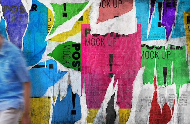 Tear poster grunge wall mockup realistic Premium Psd