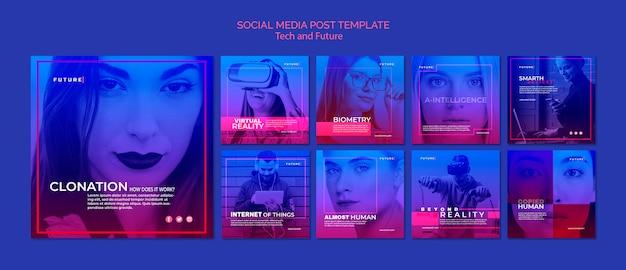 기술과 미래 개념의 인스 타 그램 게시물 프리미엄 PSD 파일