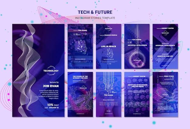 Tech & future concept instagram stories template Free Psd
