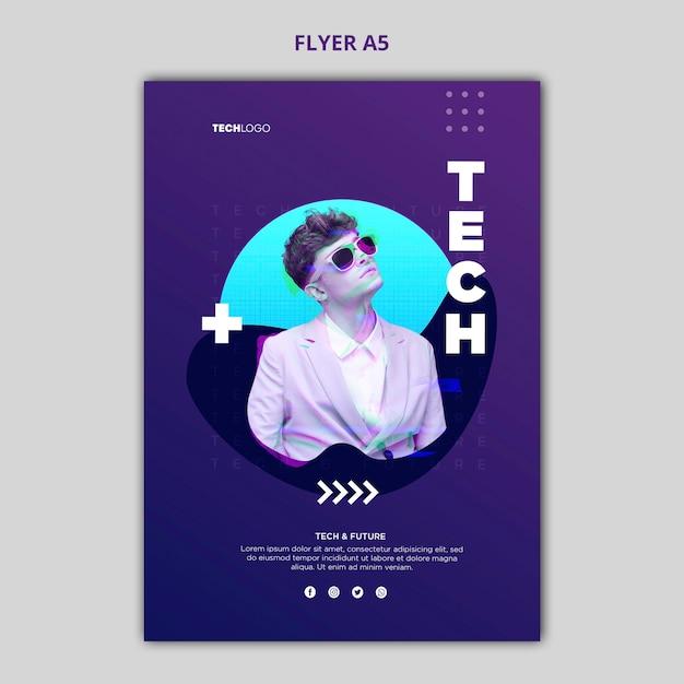 Tech & future poster concept template Free Psd