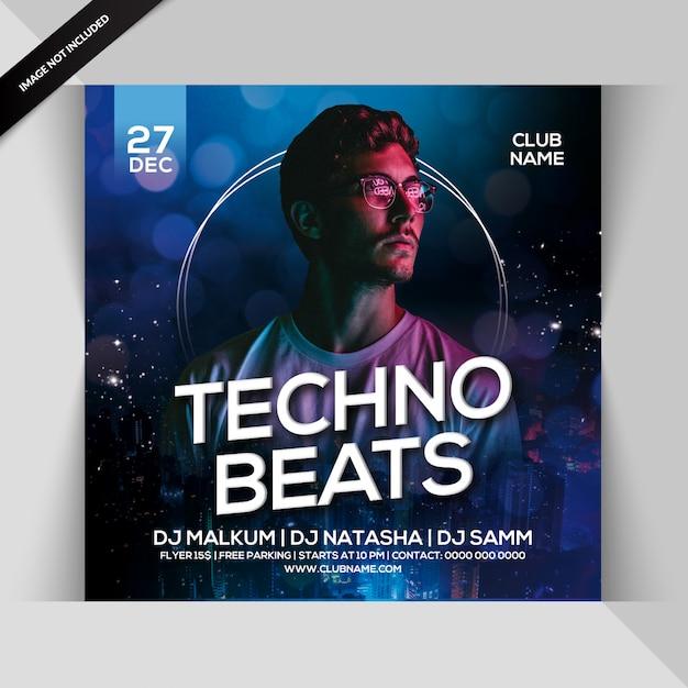 Techno beats party flyer Premium Psd
