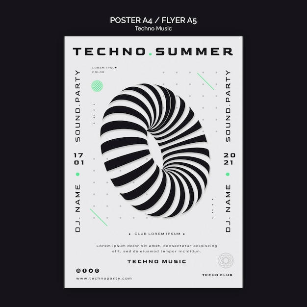 Techno music festival abstract shape poster template Free Psd