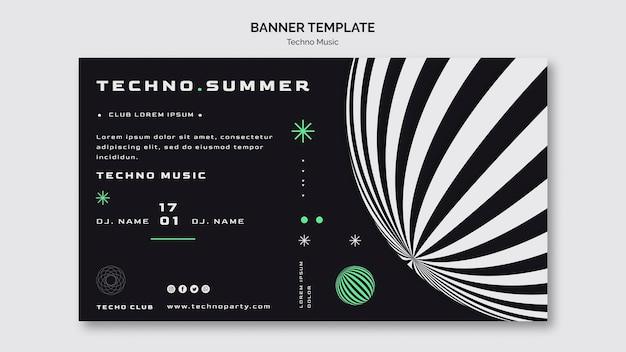 Modello di banner festival di musica techno Psd Gratuite