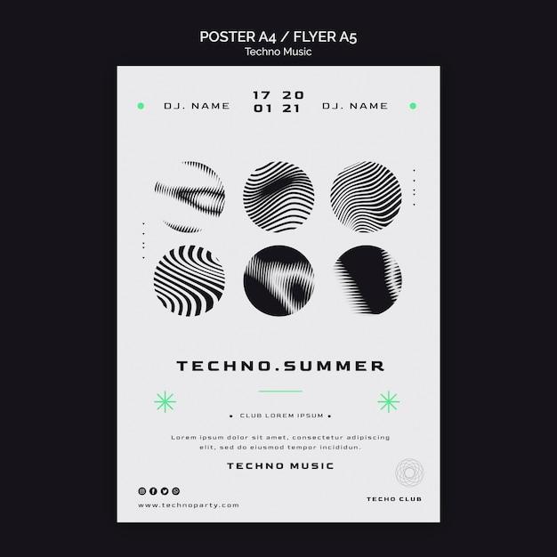 테크노 음악 축제 흑백 포스터 템플릿 프리미엄 PSD 파일