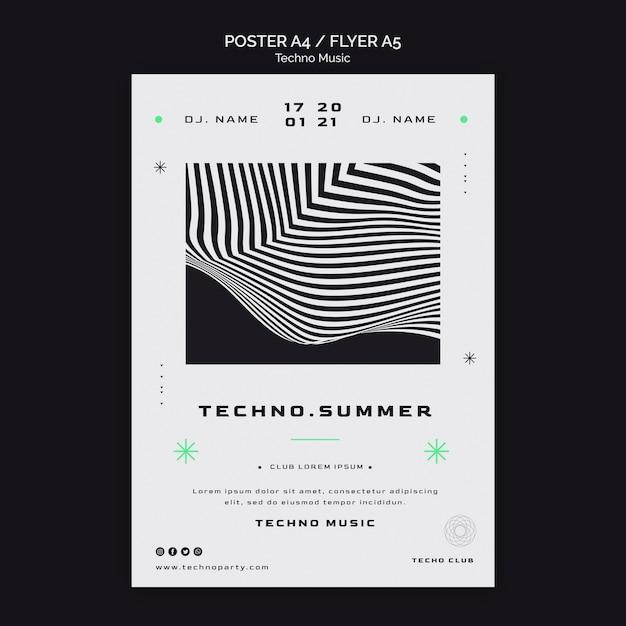 테크노 뮤직 페스티벌 포스터 템플릿 무료 PSD 파일