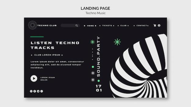 Шаблон целевой страницы веб-фестиваля техно-музыки Бесплатные Psd
