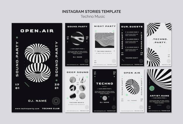 Techno music social media stories template Premium Psd