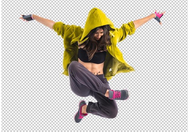 Teenager girl dancing hip hop Premium Psd