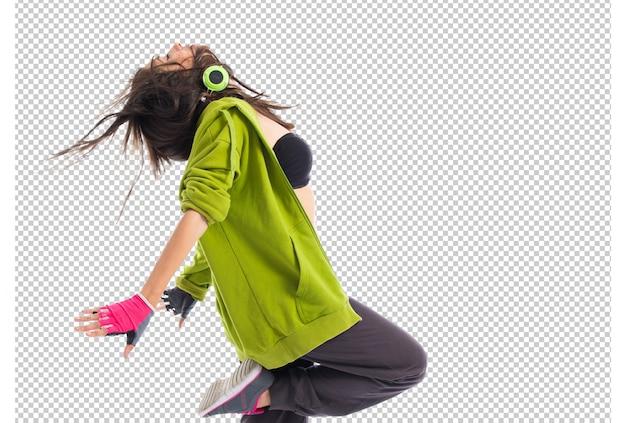Teenager girl dancing street dance style Premium Psd