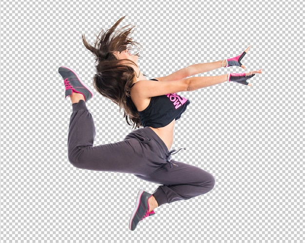 Teenager girl jumping in hip hop style Premium Psd