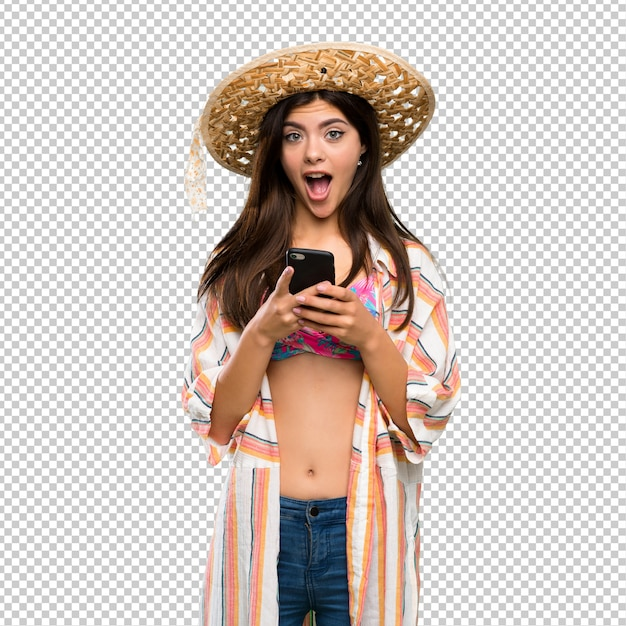 Teenager girl on summer vacation surprised and sending a message Premium Psd