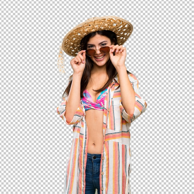 Teenager girl on summer vacation with glasses and surprised Premium Psd