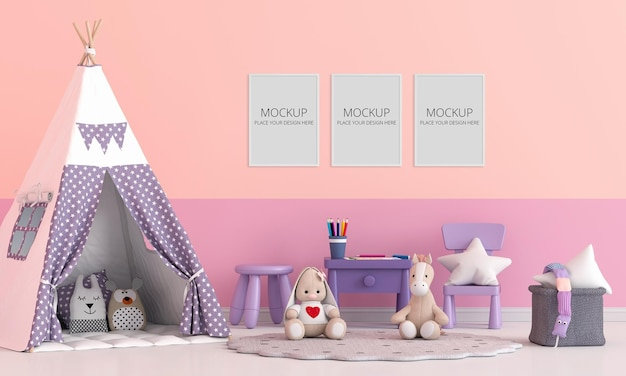 Teepee with doll in children room with frame Premium Psd