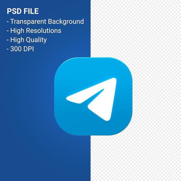 전보 로고 3d 아이콘 렌더링 절연 프리미엄 PSD 파일