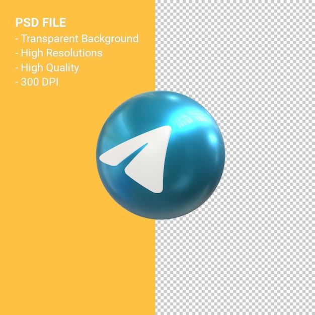 Telegram логотип 3d рендеринг иконок Premium Psd
