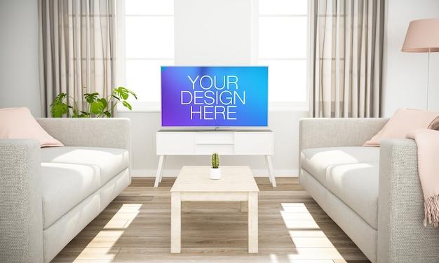 リビングルームのテレビのモックアップ Premium Psd