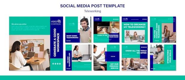 Teleworking social media post template Free Psd