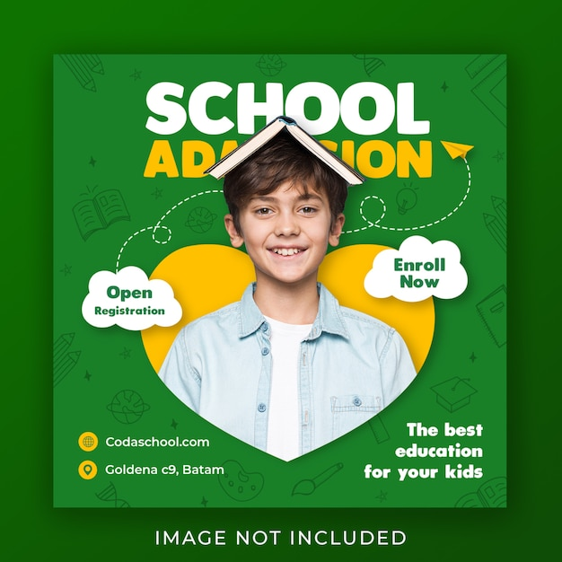 Template for back to school admission on social media Premium Psd