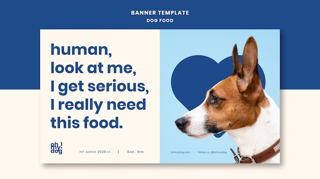 Template for banner with dog food concept Free Psd