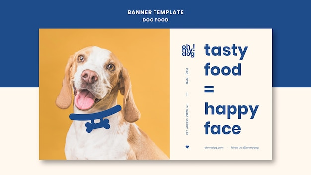 Template for banner with dog food theme Free Psd