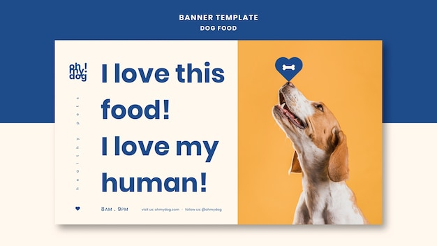 Template for banner with dog food Free Psd
