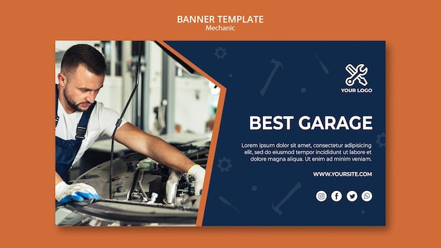 Template for banner with mechanic repairing car Free Psd