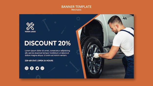 Template for banner with mechanic at work Free Psd