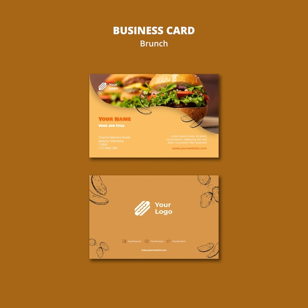 Template for brunch business card Free Psd