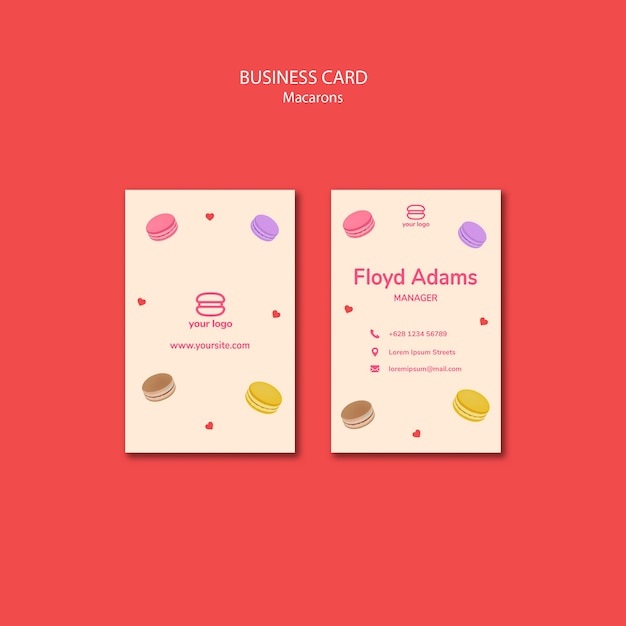 Template for business card with macarons Free Psd