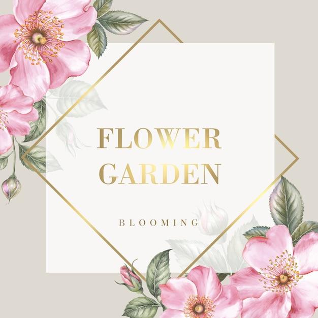 テキストの場所と桜の花を持つテンプレートカード。 Premium Psd