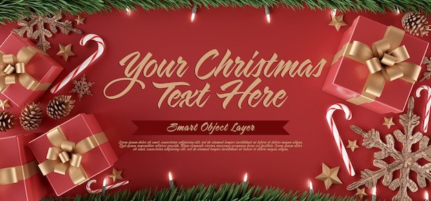 Template of a christmas scene Premium Psd