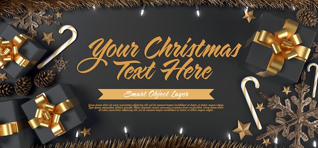 Template of a christmas scene Premium Psd